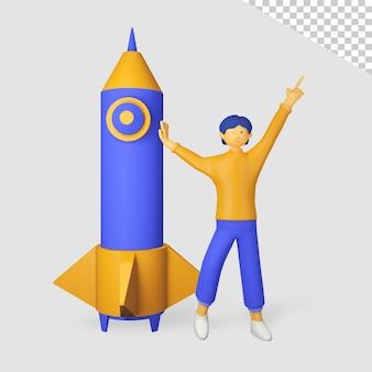 로켓과 3d 남성 캐릭터