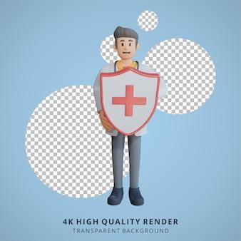 3d мужчина-врач, держащий иллюстрацию персонажа щита здоровья