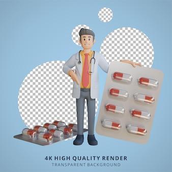 3d 남성 의사는 태블릿 캡슐 캐릭터 일러스트레이션에서 약물을 운반하고 있었습니다.
