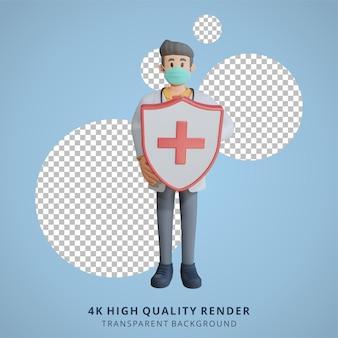 건강 방패 캐릭터 디자인 일러스트를 들고 마스크를 쓰고 3d 남성 의사