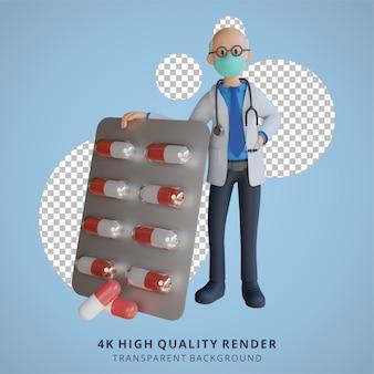 약 태블릿 캐릭터 디자인 일러스트를 들고 마스크를 쓰고 3d 남성 수석 의사