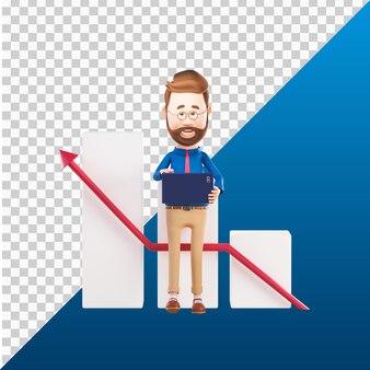 3d человек персонаж держит ноутбук иллюстрации дизайн