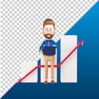 3d человек дизайн иллюстрации персонажей держит ноутбук