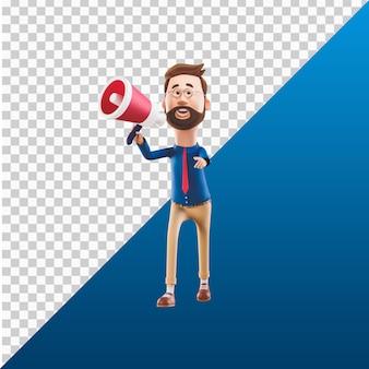 3d человек дизайн иллюстрации персонажей держит громкоговоритель