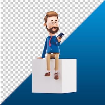 3d человек дизайн иллюстрации персонажей держит мобильный