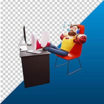 3d человек дизайн иллюстрации персонажей расслабиться на чар