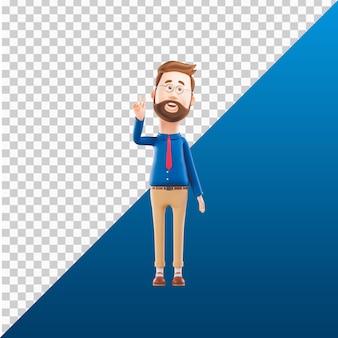 3d man character illustration design say hi