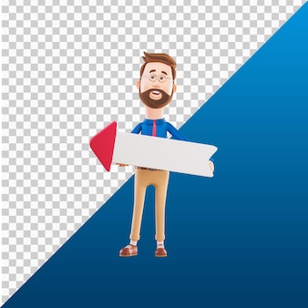 3d человек дизайн иллюстрации персонажей работает держа стрелку