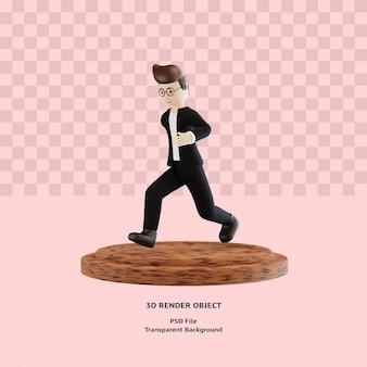 Поза бега персонажа 3d на подиуме премиум psd