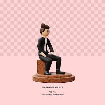 3d человек персонаж сидит в позе премиум psd