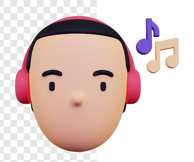 3d man listening to music with headphones