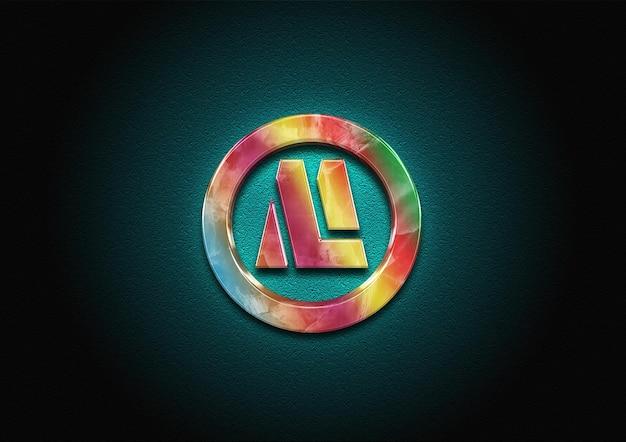 3d marble color logo mockup