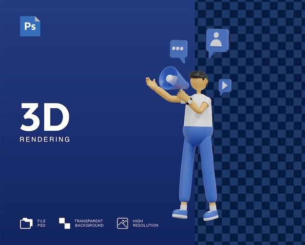 3dマーケティングキャンペーンイラストデザイン Premium Psd