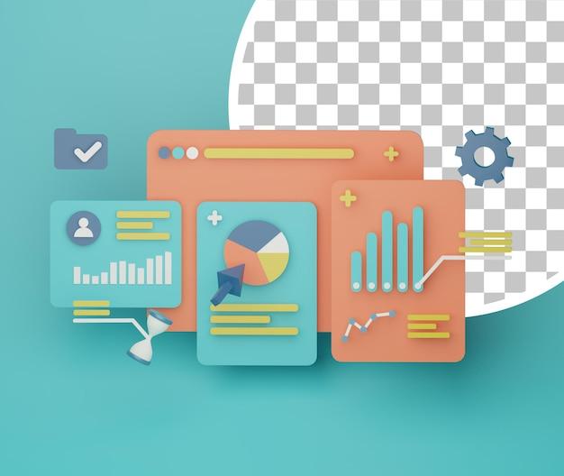 3d иллюстрация анализа маркетинговых данных