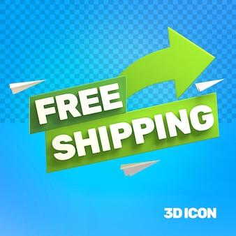 Значок текста 3d-маркетинг бесплатная доставка