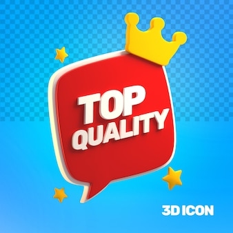 3d marketing top quality side text icon