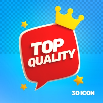 3d marketing top quality text icon