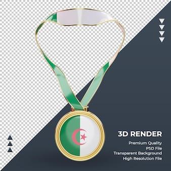 3d 메달 알제리 플래그 렌더링 전면 보기