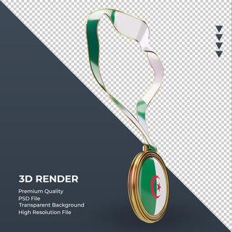 3d 메달 알제리 플래그 렌더링 왼쪽 보기