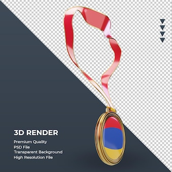 左側面図をレンダリングする3dメダルアルメニアの旗