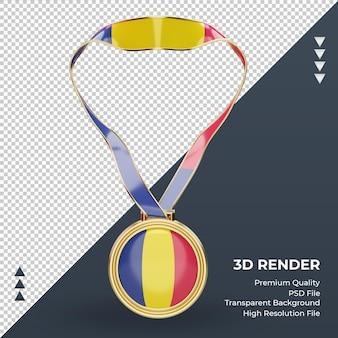 3d 메달 차드 플래그 렌더링 전면 보기