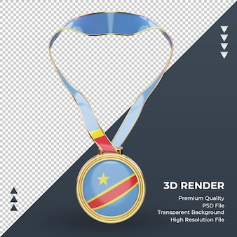 3d medal democratic congo flag rendering front view