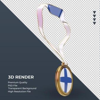 3d 메달 핀란드 국기 렌더링 왼쪽 보기