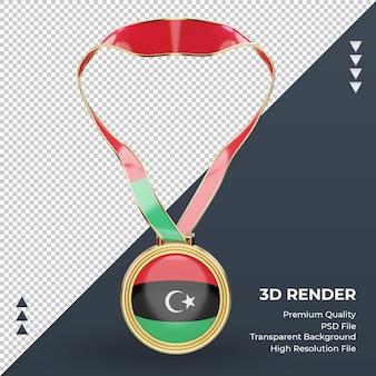 正面図をレンダリングする3dメダルリビアの旗
