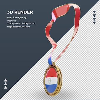 3d medal paraguay flag rendering right view