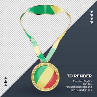 3d medal republic congo flag rendering front view