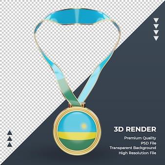 正面図をレンダリングする3dメダルルワンダの旗