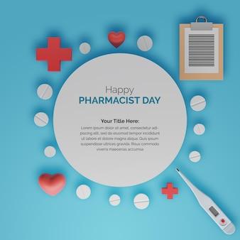 青い背景の円の形をした3d薬の心幸せな薬剤師の日