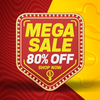 3d mega sale banner with up to 80 discount