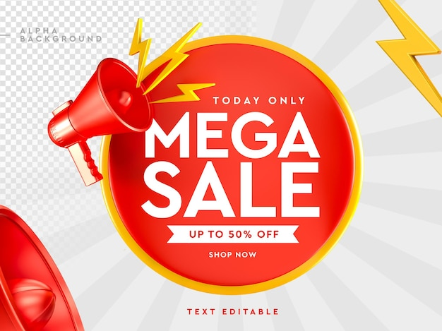 3d mega sale logo with megaphone in 3d rendering