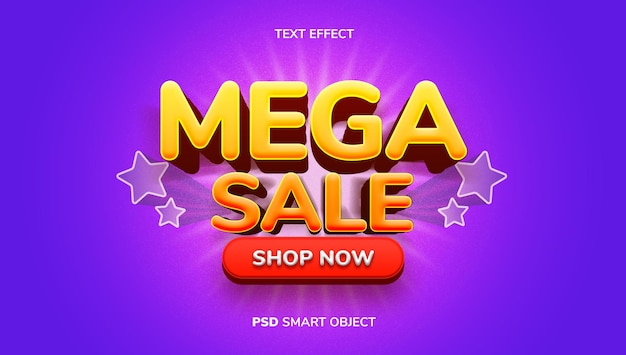 3d mega sale text effect with yellow, orange and purple color theme