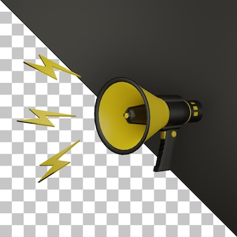 3d megaphone announce with dark background collor