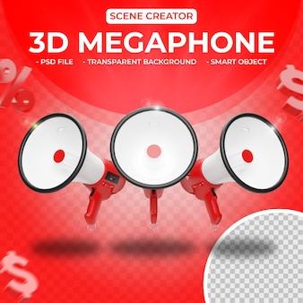 3d-мегафон для создания сцены 3d-рендеринг изолирован
