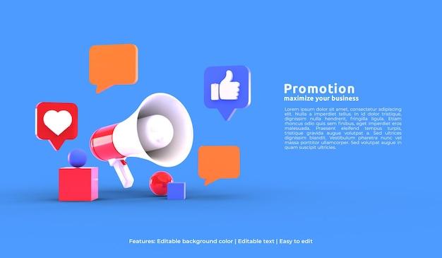 3d megaphone for promotion landing page