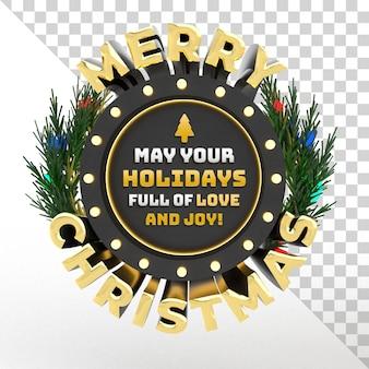 3d с рождеством христовым изолированный объект праздничное событие редактируемый текст с венком и дизайном лампы