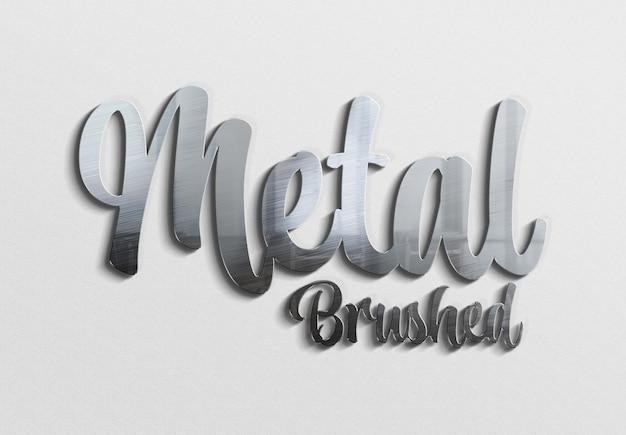 그림자가 있는 3d 금속 브러시 텍스트 효과 목업 프리미엄 PSD 파일
