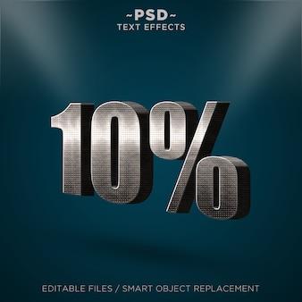 3d metal discount 10%編集可能なテキスト効果