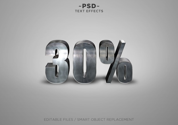 3d metal discount 30% effects editable text
