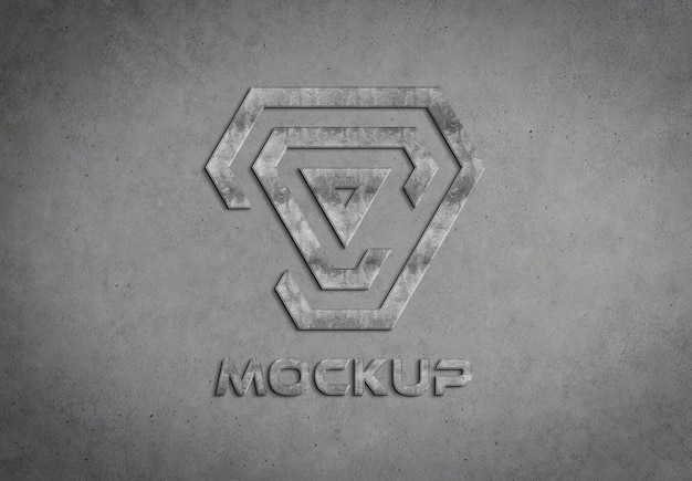 콘크리트 벽 모형에 3d 금속 로고