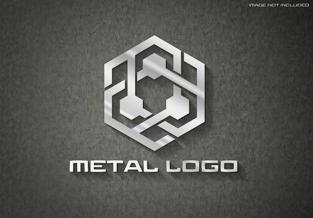 3d metal logo sign on dark wall mockup