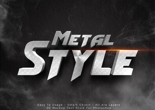 3d metal mockup text style effect