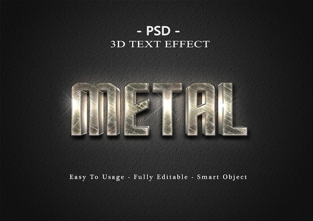 3d 금속 텍스트 스타일 효과 템플릿