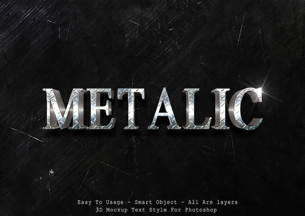 3d metalic text style effect