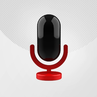 3d microphone glossy icon isolated