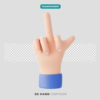 3d 가운데 손가락 제스처와 엄지손가락 아이콘