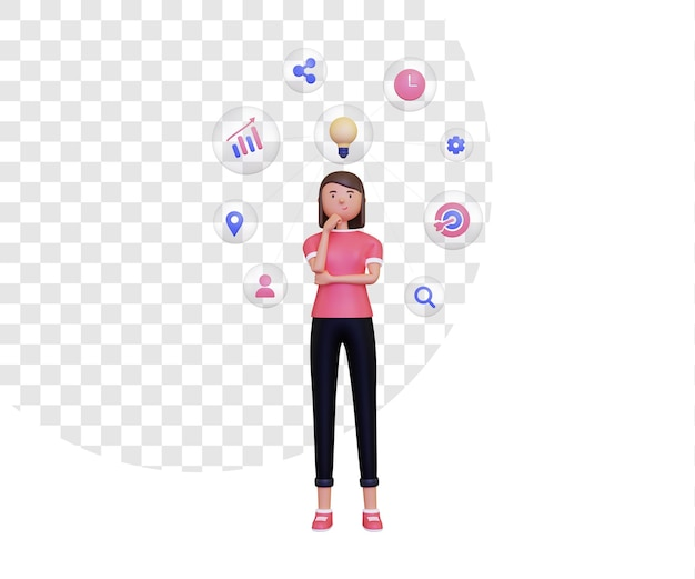 여성 캐릭터가 서 있는 3d 마인드 맵과 거품이 있는 아이콘